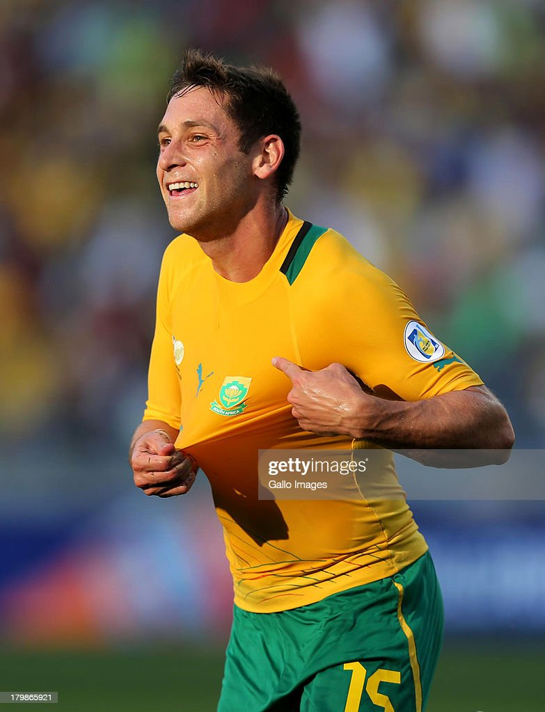 Dean Furman of South Africa celebrates during the 2014 FIFA World Cup Qualifier match between South Africa and Botswana from Moses Mabhida Stadium on September 07, 2013 in Durban, South Africa.
