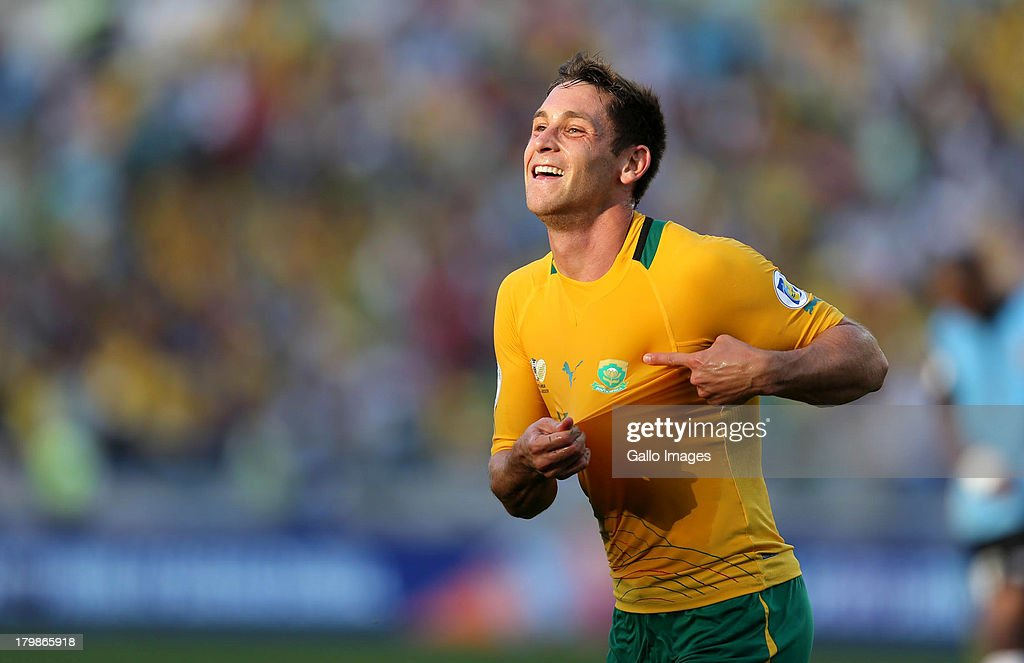 Dean Furman of South Africa celebrates his goal uring the 2014 FIFA World Cup Qualifier match between South Africa and Botswana from Moses Mabhida Stadium on September 07, 2013 in Durban, South Africa.