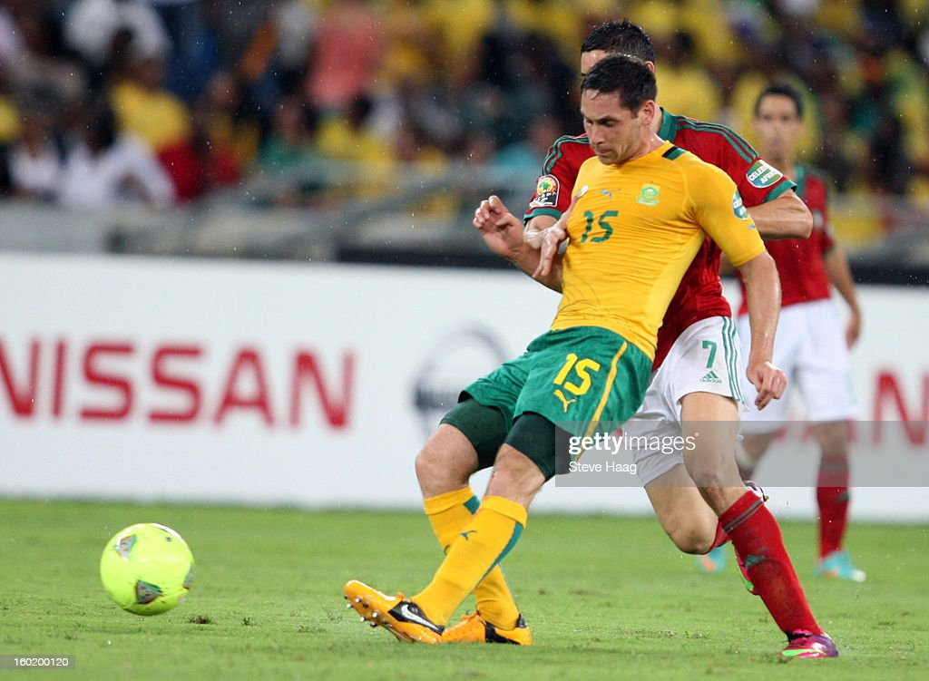 Dean Furman of South Africa wins the ball during the 2013 African Cup of Nations match between Morocco and South Africa at Moses Mahbida Stadium on January 27, 2013 in Durban, South Africa.