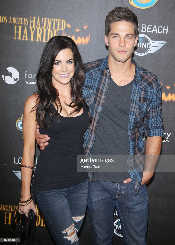 Dean Geyer and Jillian Murray arrive at the 4th Annual Los Angeles Haunted Hayride VIP premiere night held at Griffith Park on October 7 2012 in Los...