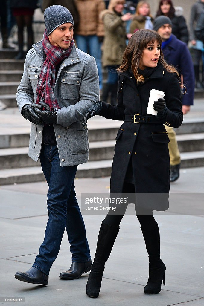 Dean Geyer and Lea Michele seen on the set of 'Glee' on the streets of Manhattan on November 18 2012 in New York City