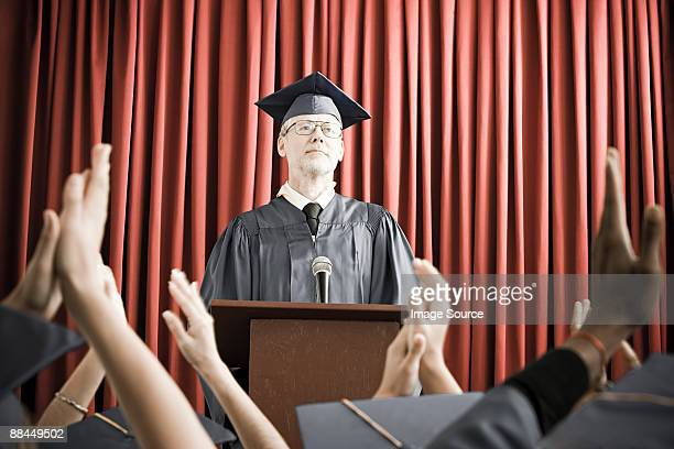 Dean giving graduation speech