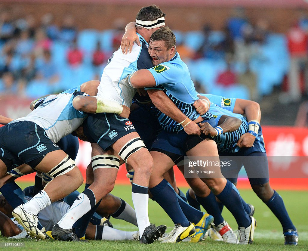 Dean Greyling of the Bulls drives the maul during the Super Rugby match between Vodacom Bulls and Waratahs at Loftus Versveld on April 27, 2013 in Pretoria, South Africa.