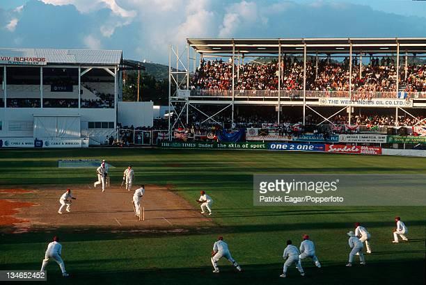 Dean Headley batting against Curtly Ambrose West Indies v England 6th Test St John's Mar 98
