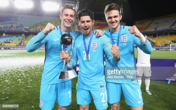 Dean Henderson Luke Southwood and Freddie Woodman clebrate with the trophy after the FIFA U20 World Cup Korea Republic 2017 Final match between...