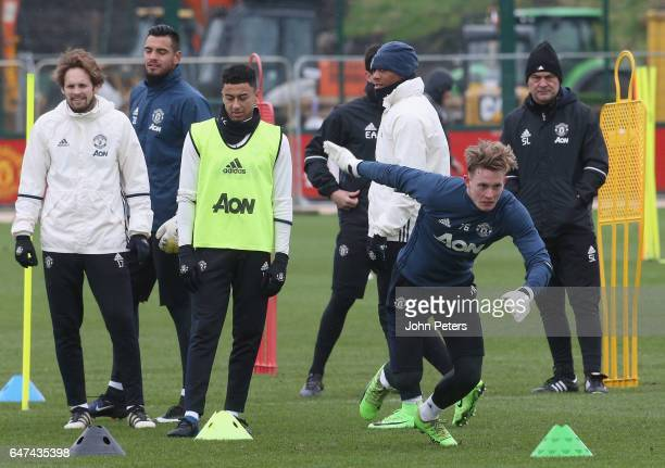 Dean Henderson of Manchester United in action during a first team training session at Aon Training Complex on March 3 2017 in Manchester England