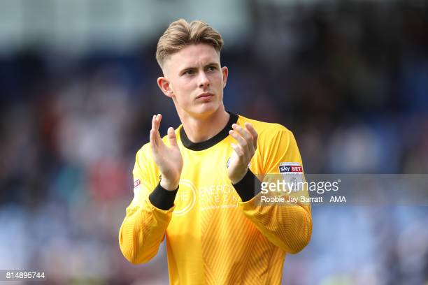 Dean Henderson of Shrewsbury Town applauds the fans at full time during the preseason friendly match between Shrewsbury Town and Aston Villa at...