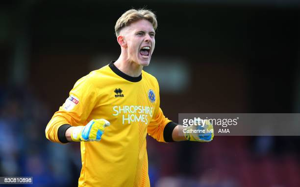 Dean Henderson of Shrewsbury Town celebrates after the Sky Bet League One match between AFC Wimbledon and Shrewsbury Town at The Cherry Red Records...