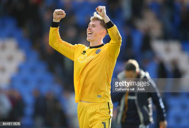 Dean Henderson of Shrewsbury Town celebrates after the Sky Bet League One match between Shrewsbury Town and Wigan Athletic at Greenhous Meadow on...