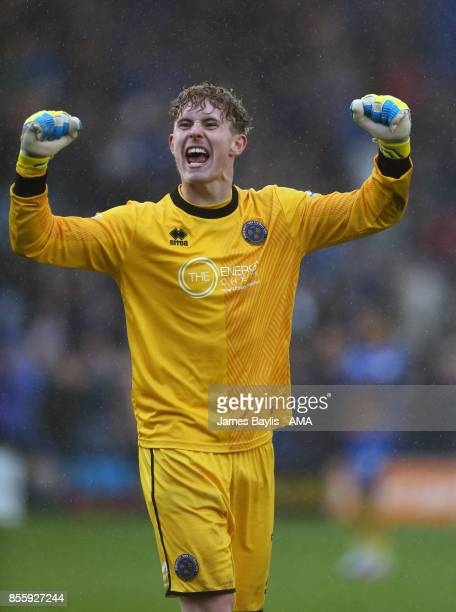 Dean Henderson of Shrewsbury Town celebrates at full time after the Sky Bet League One match between Shrewsbury Town and Scunthorpe United at New...