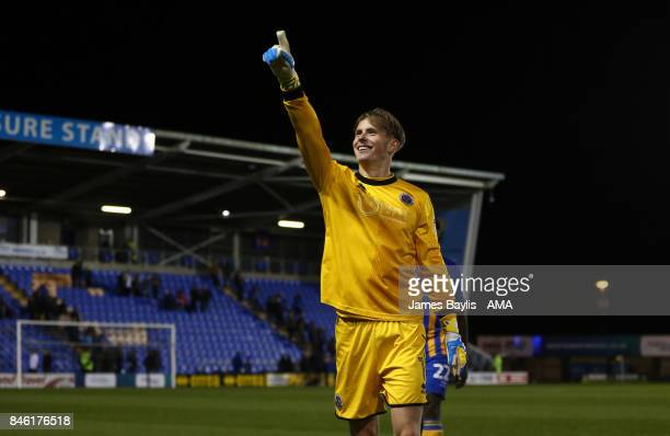 Dean Henderson of Shrewsbury Town celebrates at full time during the Sky Bet League One match between Shrewsbury Town and Southend United at...