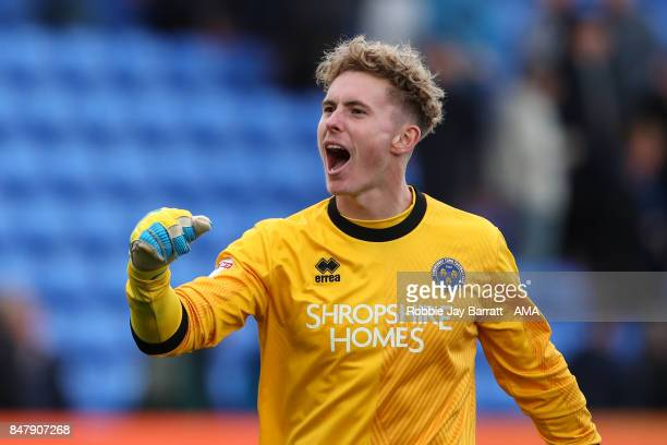 Dean Henderson of Shrewsbury Town celebrates at full time during the Sky Bet League One match between Oldham Athletic and Shrewsbury Town at Boundary...