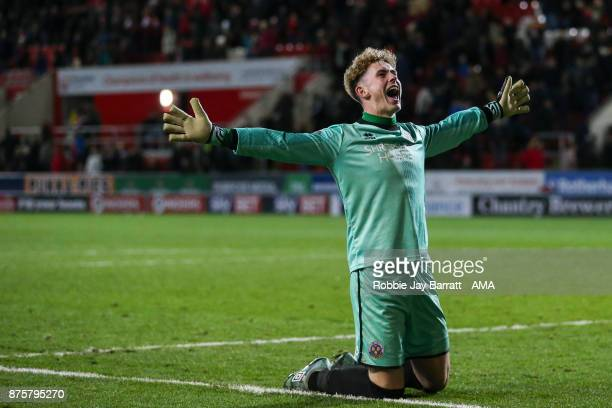 Dean Henderson of Shrewsbury Town celebrates at full time during the Sky Bet League One match between Rotherham United and Shrewsbury Town at The New...