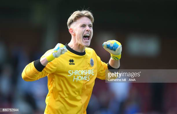Dean Henderson of Shrewsbury Town celebrates the win after the Sky Bet League One match between AFC Wimbledon and Shrewsbury Town at The Cherry Red...