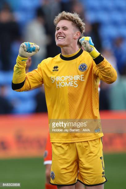 Dean Henderson of Shrewsbury Town celebrates with the fans at full time during the Sky Bet League One match between Oldham Athletic and Shrewsbury...