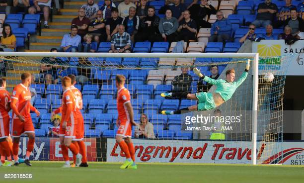Dean Henderson of Shrewsbury Town during the preseason friendly between Shrewsbury Town and Cardiff City at The Montgomery Waters Meadow on July 25...