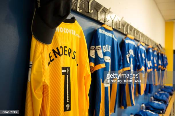 Dean Henderson of Shrewsbury Town shirt hangs in the changing room during the Sky Bet League One match between Doncaster Rovers and Shrewsbury Town...
