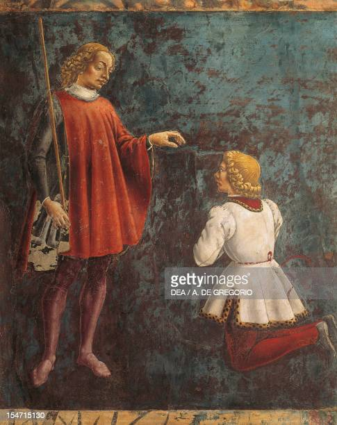 Dean honored by a youth detail from Sign of Gemini scene from Month of May ca 1470 by Francesco del Cossa fresco east wall Hall of the Months Palazzo...