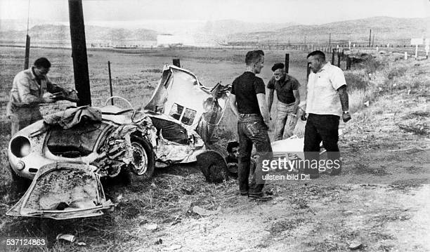 Dean James Actor USA his porsche after accident 1955 Published by 'BZ'