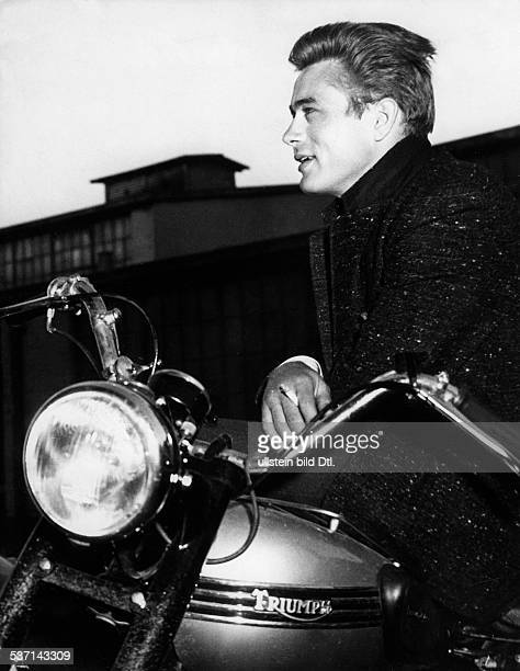 Dean James Actor USA on his motorbike around 1950