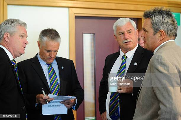 Dean Jones Gavin Larsen Sir Richard Hadlee and Martin Crowe chat prior to the ICC Cricket World Cup 'One Year To Go' on February 14 2014 in...