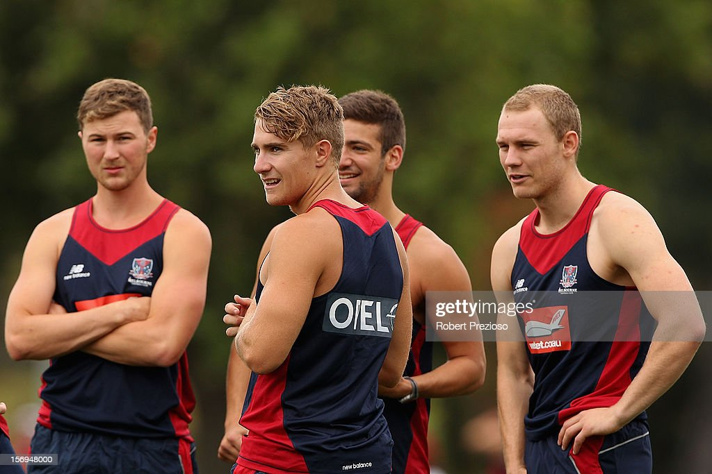 <a gi-track='captionPersonalityLinkClicked' href=/galleries/search?phrase=Dean+Kent&family=editorial&specificpeople=235553 ng-click='$event.stopPropagation()'>Dean Kent</a> looks on during a Melbourne Demons AFL pre-season training session at Gosch's Paddock on November 26, 2012 in Melbourne, Australia.