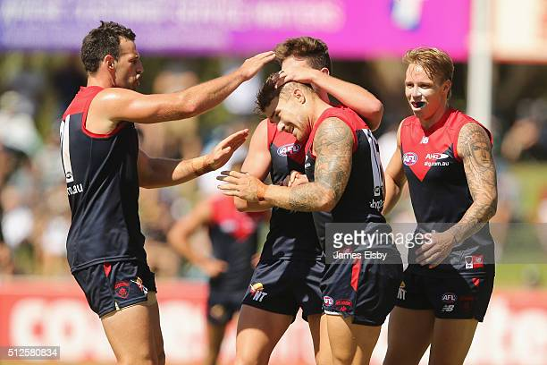 Dean Kent of the Demons celebrates a goal during the 2016 AFL NAB CHallenge match between Port Adelaide Power and Melbourne Demons at Playford Alive...