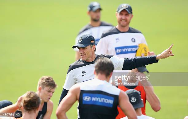 Dean Laidley the assistant coach of the Blues gives instructions during a Carlton Blues AFL Training session at Visy Park on December 22 2014 in...