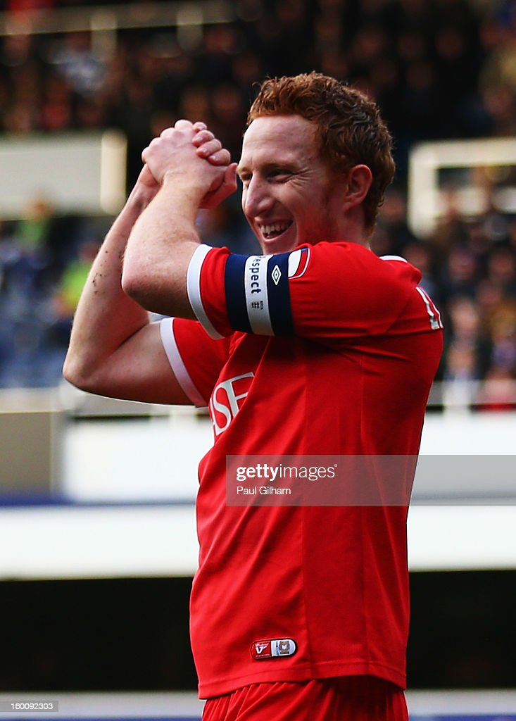 Dean Lewington of Milton Keynes Dons celebrates scoring during the FA Cup with Budweiser Fourth Round match between Queens Park Rangers and Milton Keynes Dons at Loftus Road on January 26, 2013 in London, England.