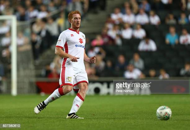 Dean Lewington of Milton Keynes Dons in action during the Carabao Cup Second Round match between Milton Keynes Dons and Swansea City at StadiumMK on...