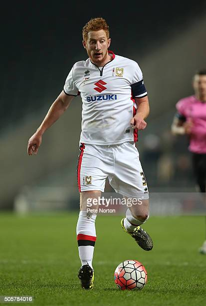 Dean Lewington of Milton Keynes Dons in action during The Emirates FA Cup Third Round Replay match between Milton Keynes Dons and Northampton Town at...