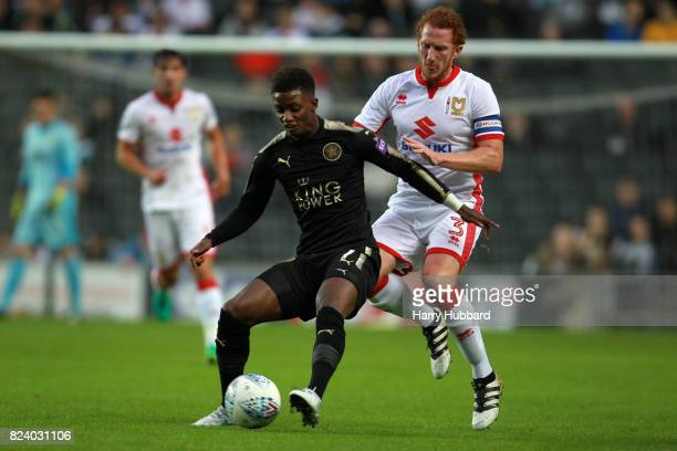 Dean Lewington of MK Dons and Demarai Gray of Leicester in action during the preseason friendly match between MK Dons and Leicester City at StadiumMK...