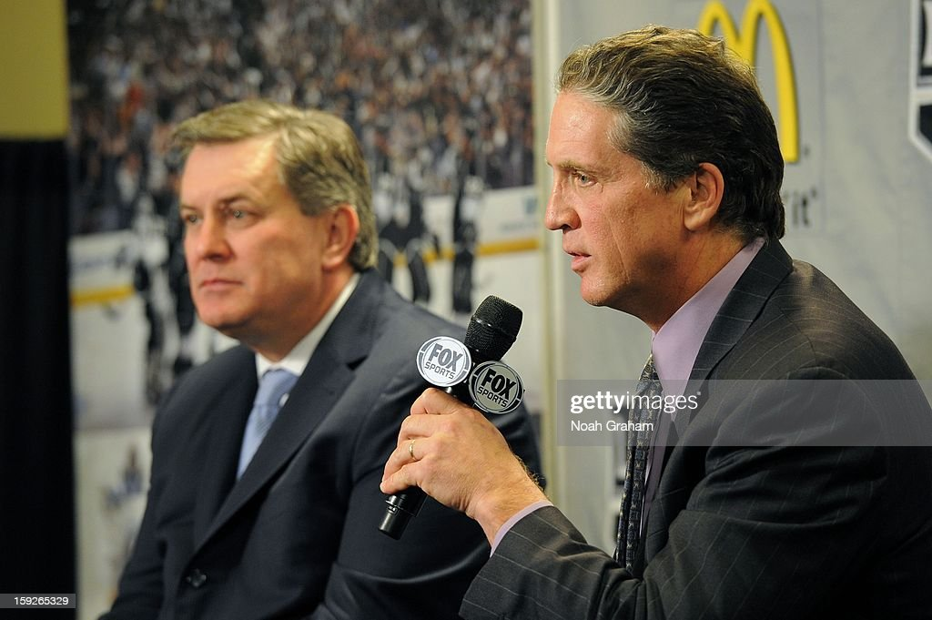 Dean Lombardi speaks as the Los Angeles Kings kick-off the club's 2012-13 Regular Season with a press conference featuring Kings Governor Tim Leiweke, President/General Manager Dean Lombardi , President, Business Operations Luc Robitaille and Head Coach Darryl Sutter at Staples Center on January 10, 2013 in Los Angeles, California.