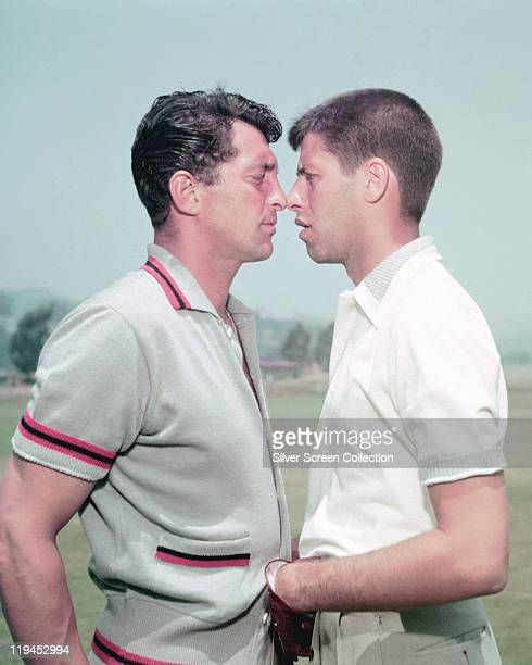 Dean Martin US actor and singer with Jerry Lewis US actor and comedian squaring up to each other face to face USA circa 1952