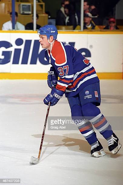 Dean McAmmond of the Edmonton Oilers skates in warmup prior to a game against the Toronto Maple Leafs on April 13 1996 at Maple Leaf Gardens in...