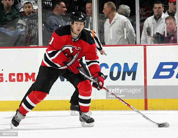 Dean McAmmond of the New Jersey Devils plays the puck against the Los Angeles Kings during the game at the Prudential Center on January 31 2010 in...
