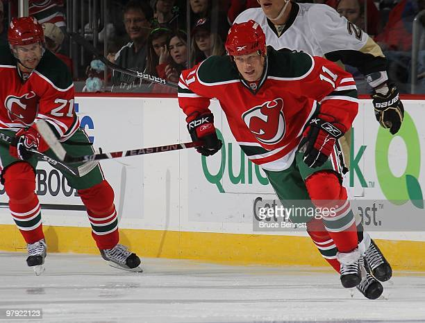 Dean McAmmond of the New Jersey Devils skates against the Pittsburgh Penguins at the Prudential Center on March 17 2010 in Newark New Jersey