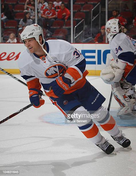 Dean McAmmond of the New York Islanders skates in warmups prior to his game against the New Jersey Devils at the Prudential Center on October 1 2010...