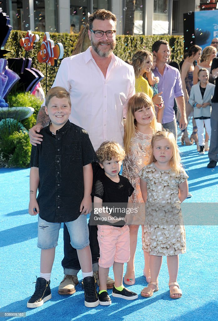 Dean McDermott and kids arrive at the World Premiere of DisneyPixar's 'Finding Dory' at the El Capitan Theatre on June 8 2016 in Hollywood California