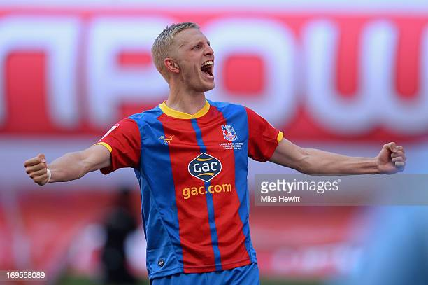 Dean Moxey of Crystal Palace celebrates following his team's victory in extratime during the npower Championship Playoff Final match between Watford...