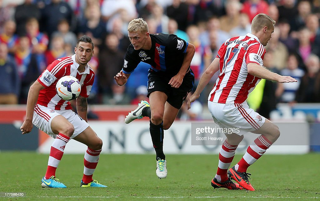 Dean Moxey of Crystal Palace in action during the Barclays Premier League match between Stoke City and Crystal Palace at Britannia Stadium on August 24, 2013 in Stoke on Trent, England.