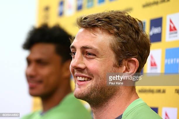 Dean Mumm addresses the media following the Wallabies captain's run at nib Stadium on September 16 2016 in Perth Australia