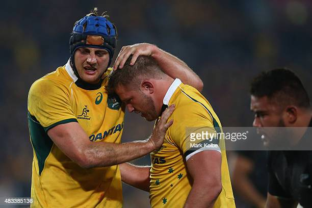 Dean Mumm and Greg Holmes of the Wallabies celebrate during The Rugby Championship match between the Australia Wallabies and the New Zealand All...