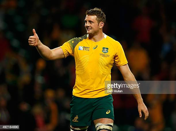 Dean Mumm of Australia celebrates after the 2015 Rugby World Cup Pool A match between Australia and Wales at Twickenham Stadium on October 10 2015 in...