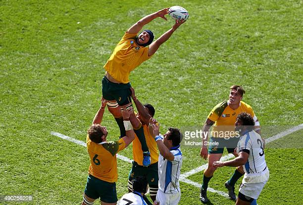 Dean Mumm of Australia claims a lineout during the 2015 Rugby World Cup Pool A match between Australia and Uruguay at Villa Park on September 27 2015...