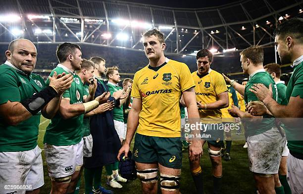 Dean Mumm of Australia leaves the field dejected following his side's defeat during the international match between Ireland and Australia at the...