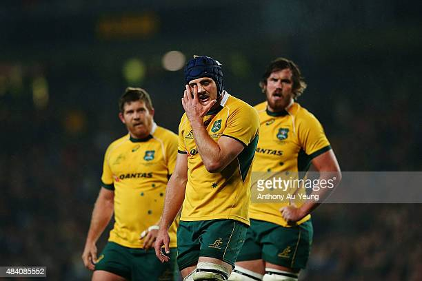 Dean Mumm of Australia reacts during The Rugby Championship Bledisloe Cup match between the New Zealand All Blacks and the Australian Wallabies at...