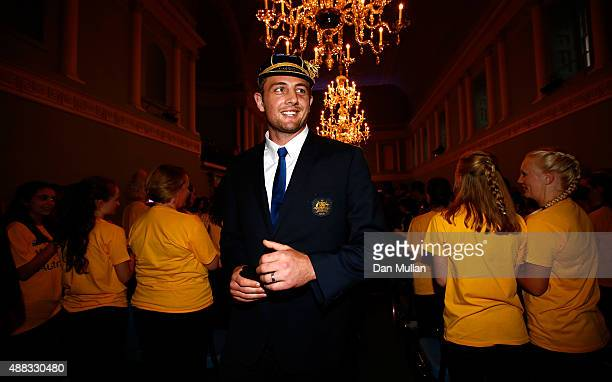 Dean Mumm of Australia smiles as he leaves the Rugby World Cup 2015 Australia Welcome Ceremony at The Bath Assembly Rooms on September 15 2015 in...