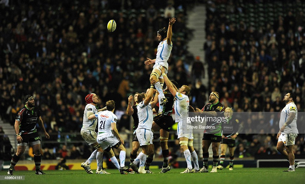 Dean Mumm of Exeter Chiefs contests a lineout during the Aviva Premiership match between Harlequins and Exeter Chiefs at Twickenham Stadium on December 28, 2013 in London, England.