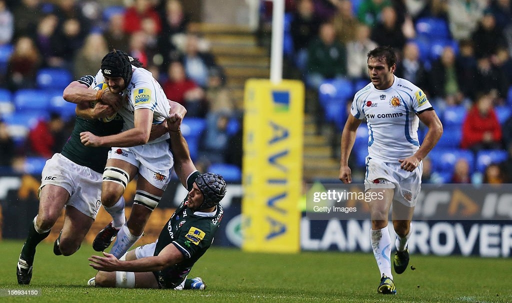 Dean Mumm of Exeter Chiefs in action during the Aviva Premiership match between London Irish and Exeter Chiefs at Madejski Stadium on November 25, 2012 in Reading, England